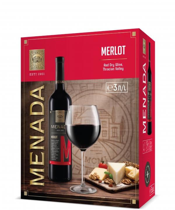 Червено Вино Менада Мерло 3 л