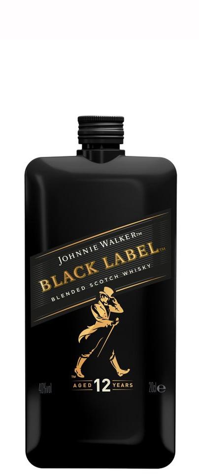 Уиски Джони Уокър Черен Етикет 12 годишно 0.2 л Покет Бутилка