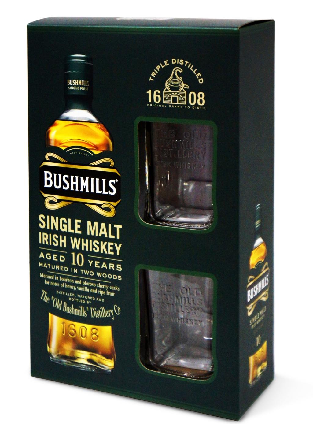 Уиски Бушмилс Сингъл Малц 10 годишен 0.7 л с 2 Чаши