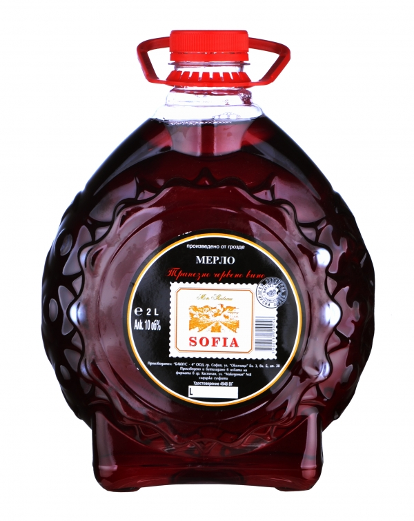 Бакхус Червено Вино Бъклица 2 л, 6 бр в стек