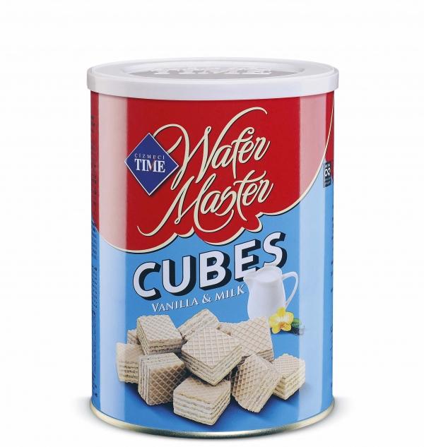 Вафлени Кубчета Мастър Мляко и Ванилия 220 гр Метална Кутия