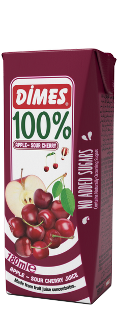 Сок Димес Вишна и Ябълка 100% 0.180 л
