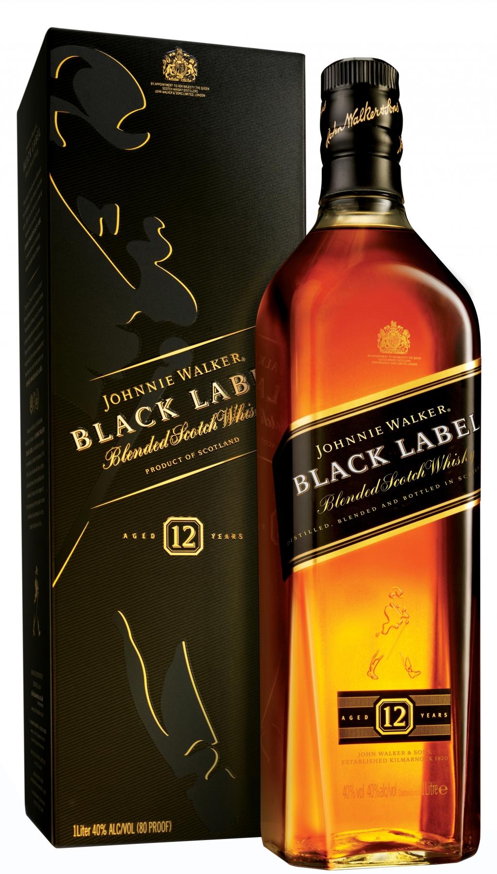 Уиски Джони Уокър Черен Етикет 12 годишно 1 л
