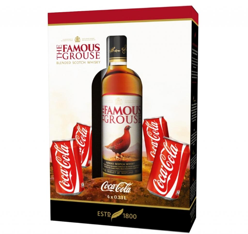 Уиски Феймъс Граус 0.7 л с 4 бр Кока Кола 0.33 л Кен