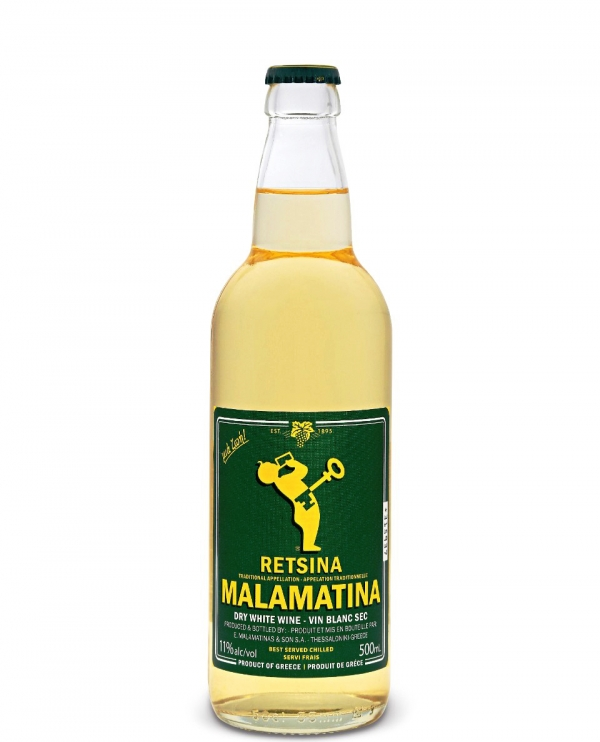 Бяло Вино Рецина Маламатина 0.5 л
